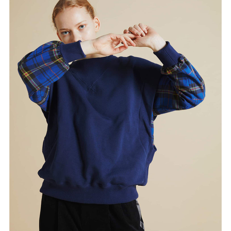 PLAID SWEAT x SHIRT - NAVY