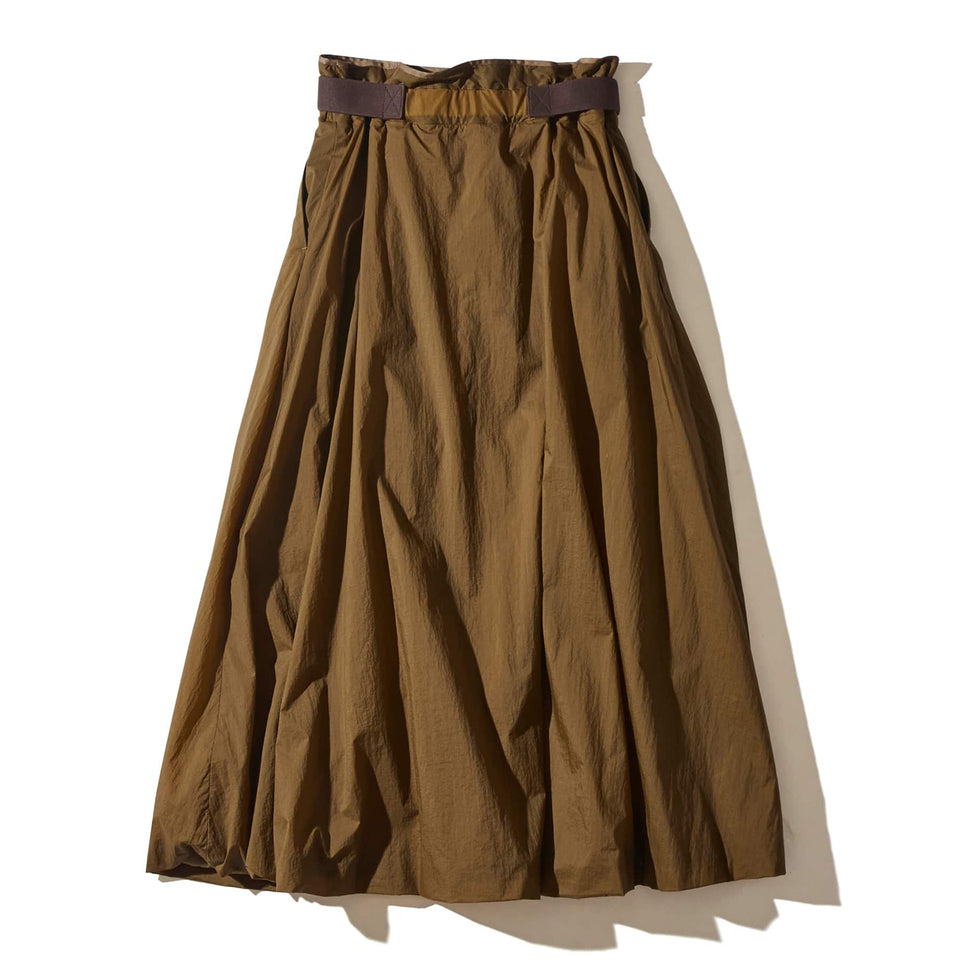 ECO NYLON HIGH-WAISTED SKIRT - BROWN