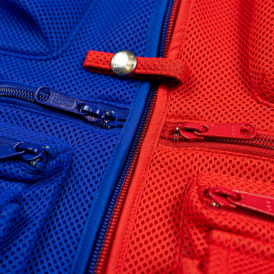 MESH NEOPRENE FISHING VEST - RED/BLUE