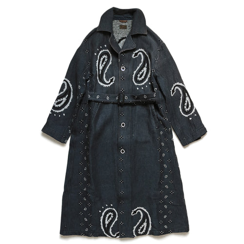 KAPITAL - RAG PAISLEY LINEN WOOL DRAGGING COAT - NAVY