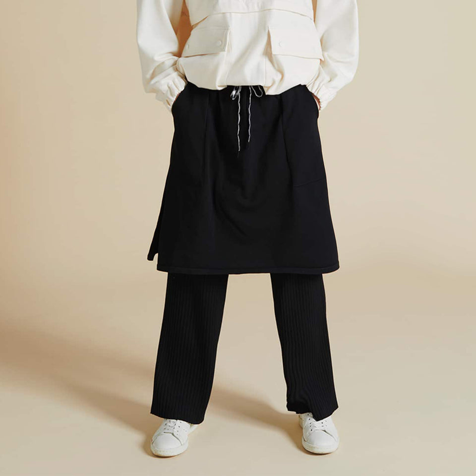 LIGHT KNIT LAYERING PANTS - BLACK