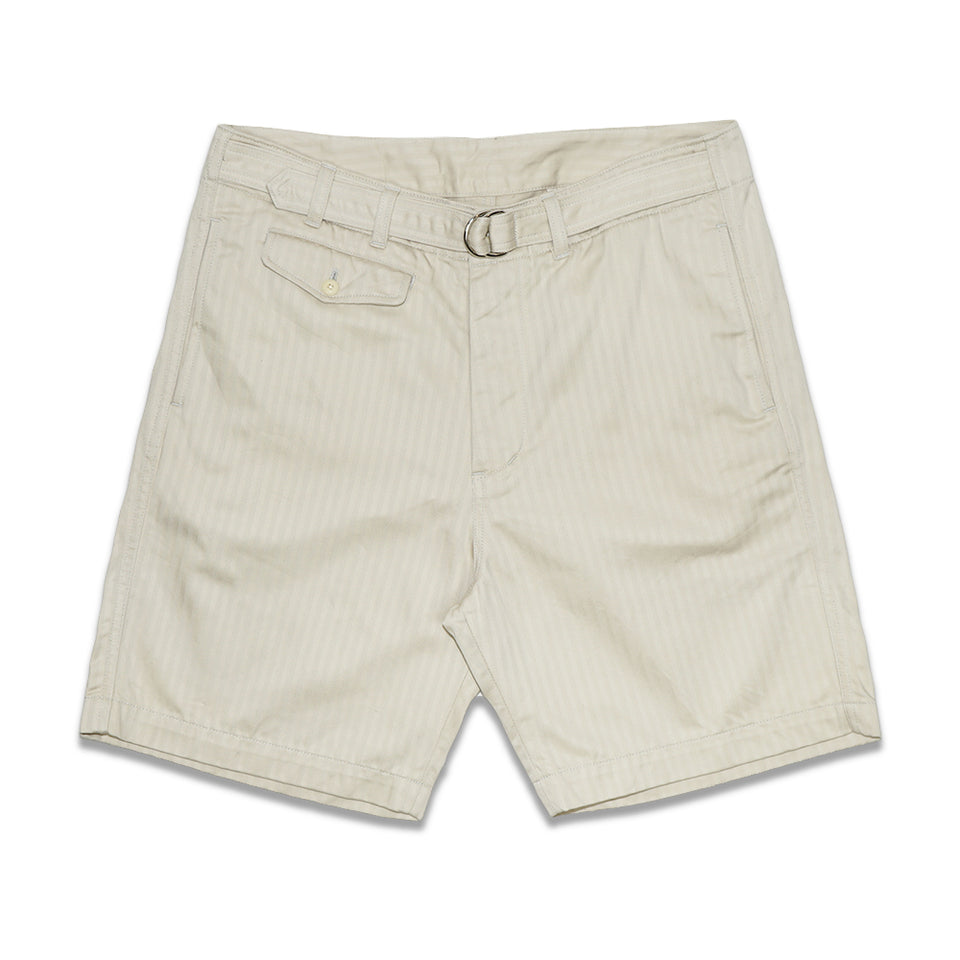HERRINGBONE D-RING BELTED SHORTS - NATURAL