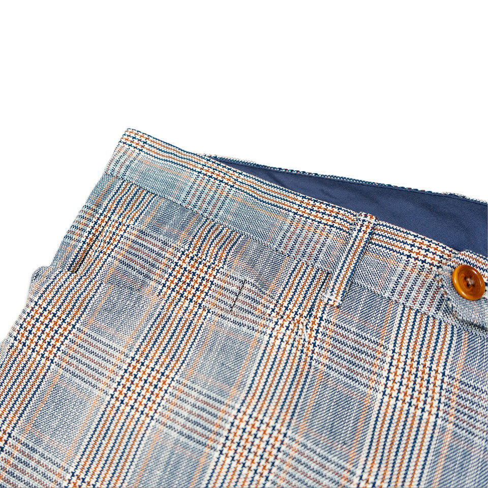 Color Glen Plaid Cotton/Linen Cloth L-Pocket Pants