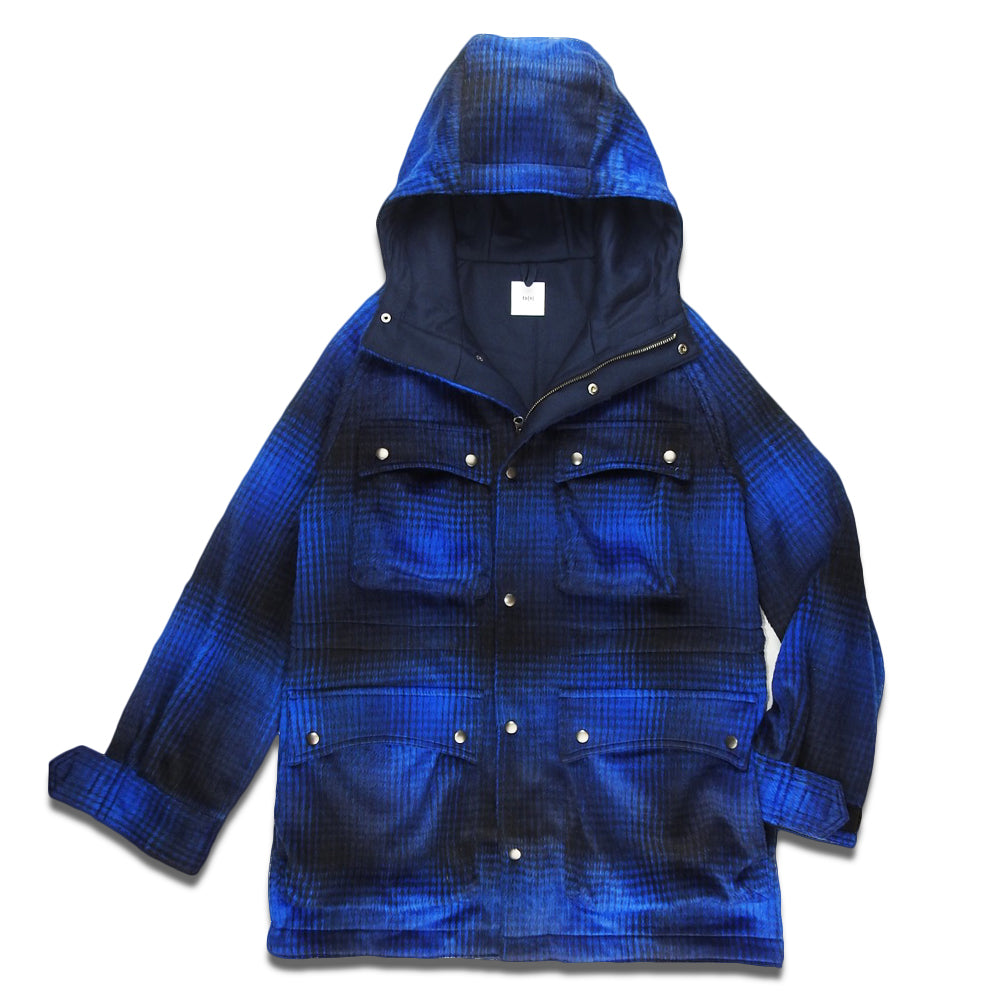 ts(s) - SHAGGY PLAID WOOL BLEND CLOTH / 4 PATCH POCKET MOUNTAIN PARKA - NAVY