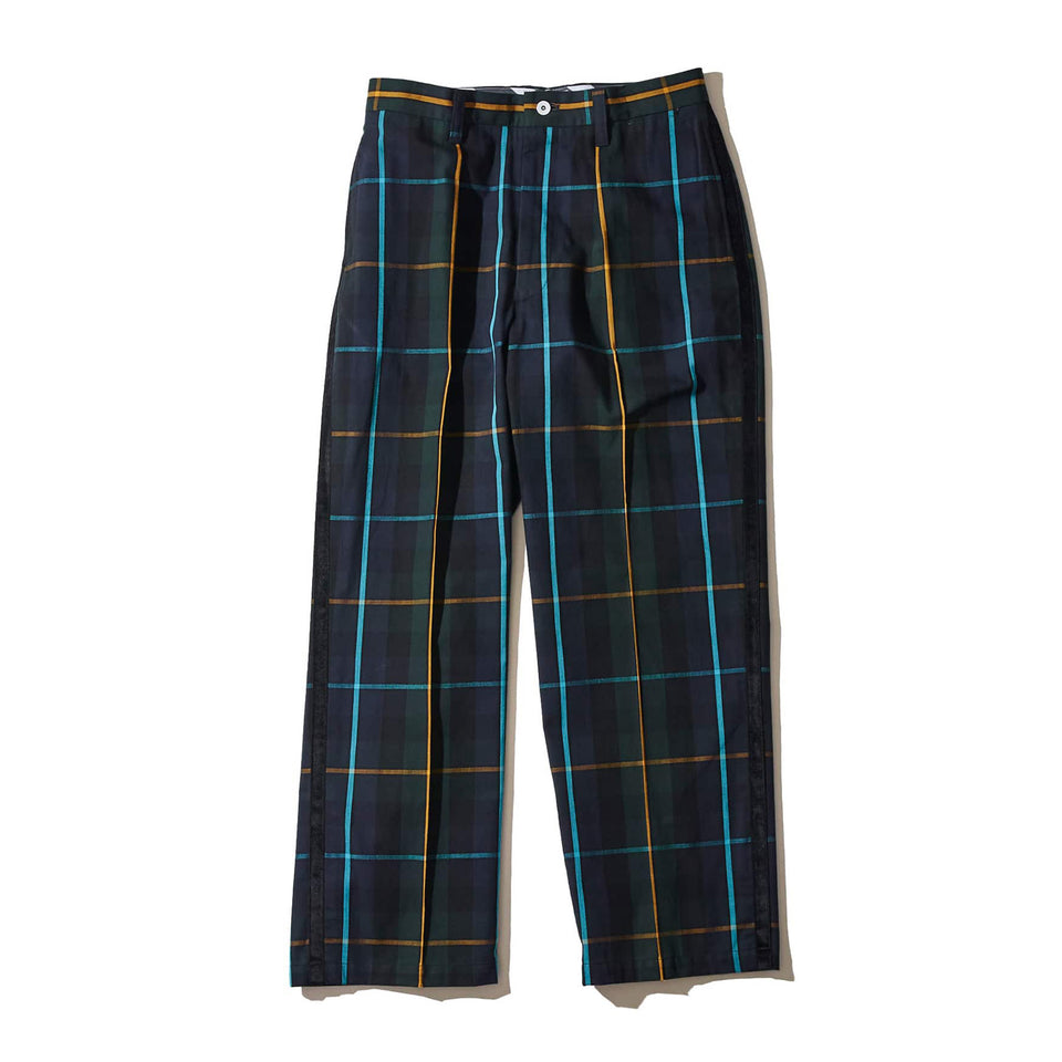 ORGANIC COTTON FLANNEL PLAID SERVICE PANTS - GREEN