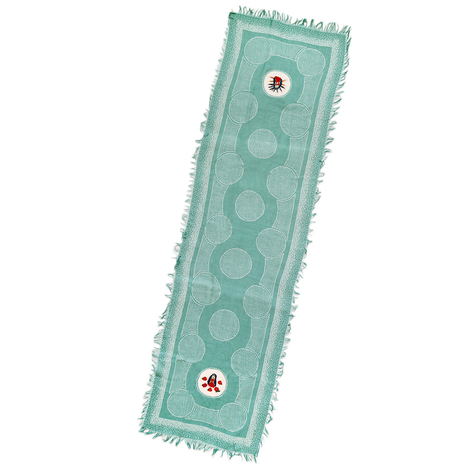 RAYON DOT FRINGE STOLE (MARIA EMBROIDERY) - TURQUOISE