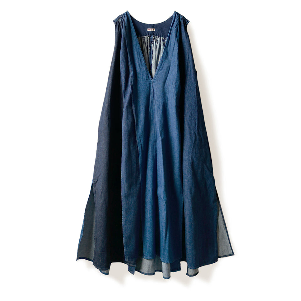 KAPITAL - 8oz DENIM 3TONES LAMP DRESS - INDIGO at Mannahatta NYC