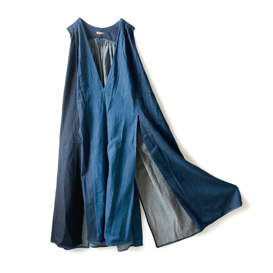 8oz DENIM 3TONES LAMP DRESS - INDIGO