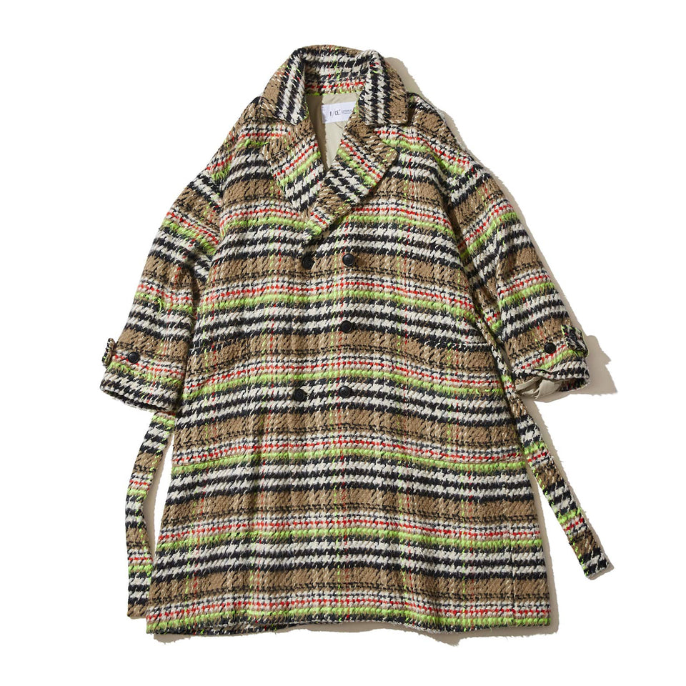 PLAID P-COAT (FRENCH FABRIC) - BEIGE