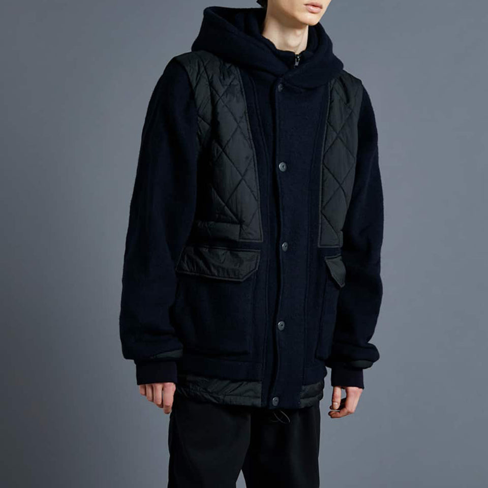 RECYCLE WOOL ZIP BLOUSON - NAVY