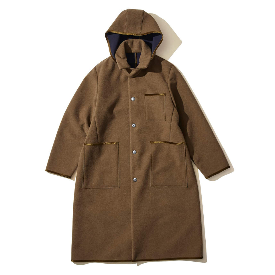 BONDING WOOL SLICK COAT - BEIGE