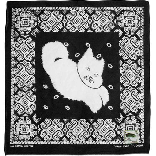 KAPITAL - FASTCOLOR SELVEDGE BANDANA (LIGHTNING DANCING CAT) - BLACK