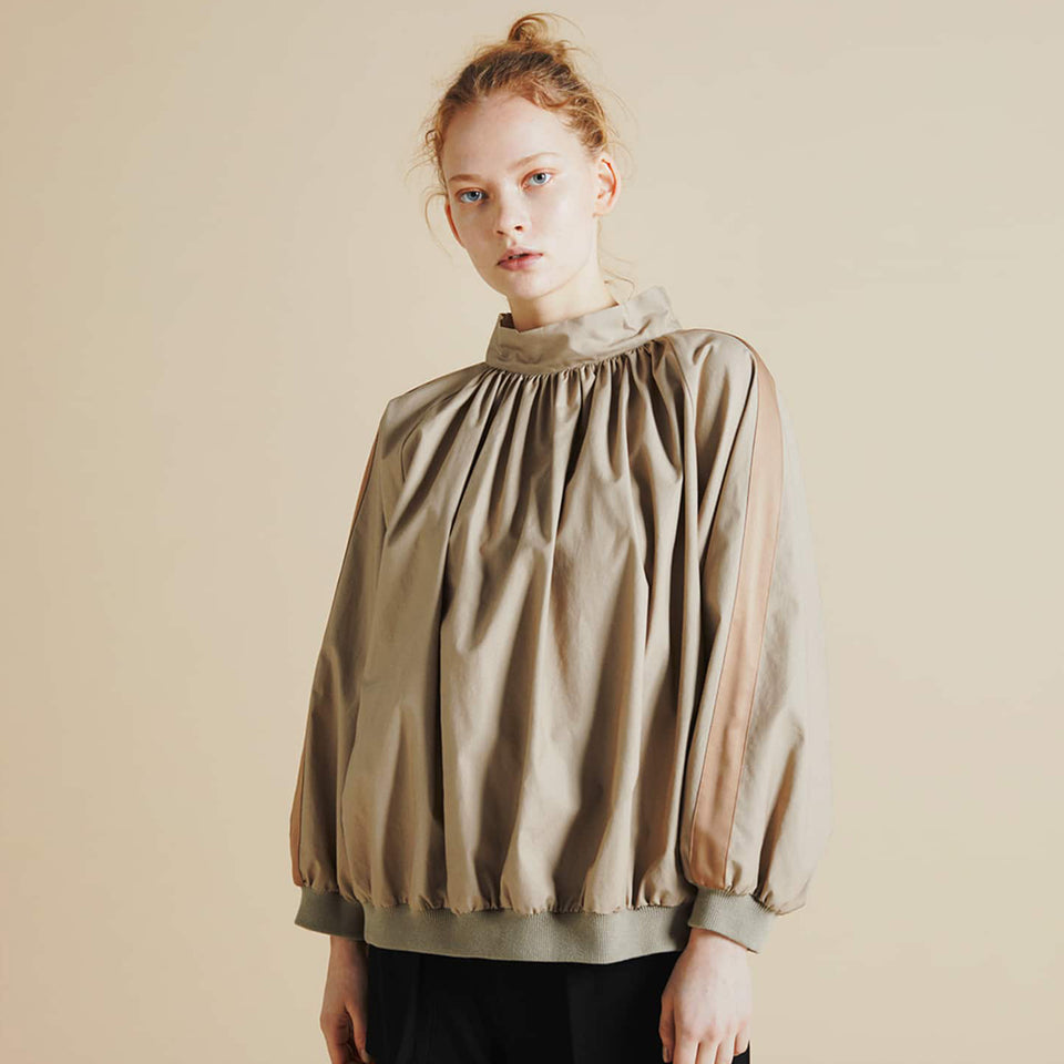 HIGH NECK GATHER BLOUSE - BEIGE