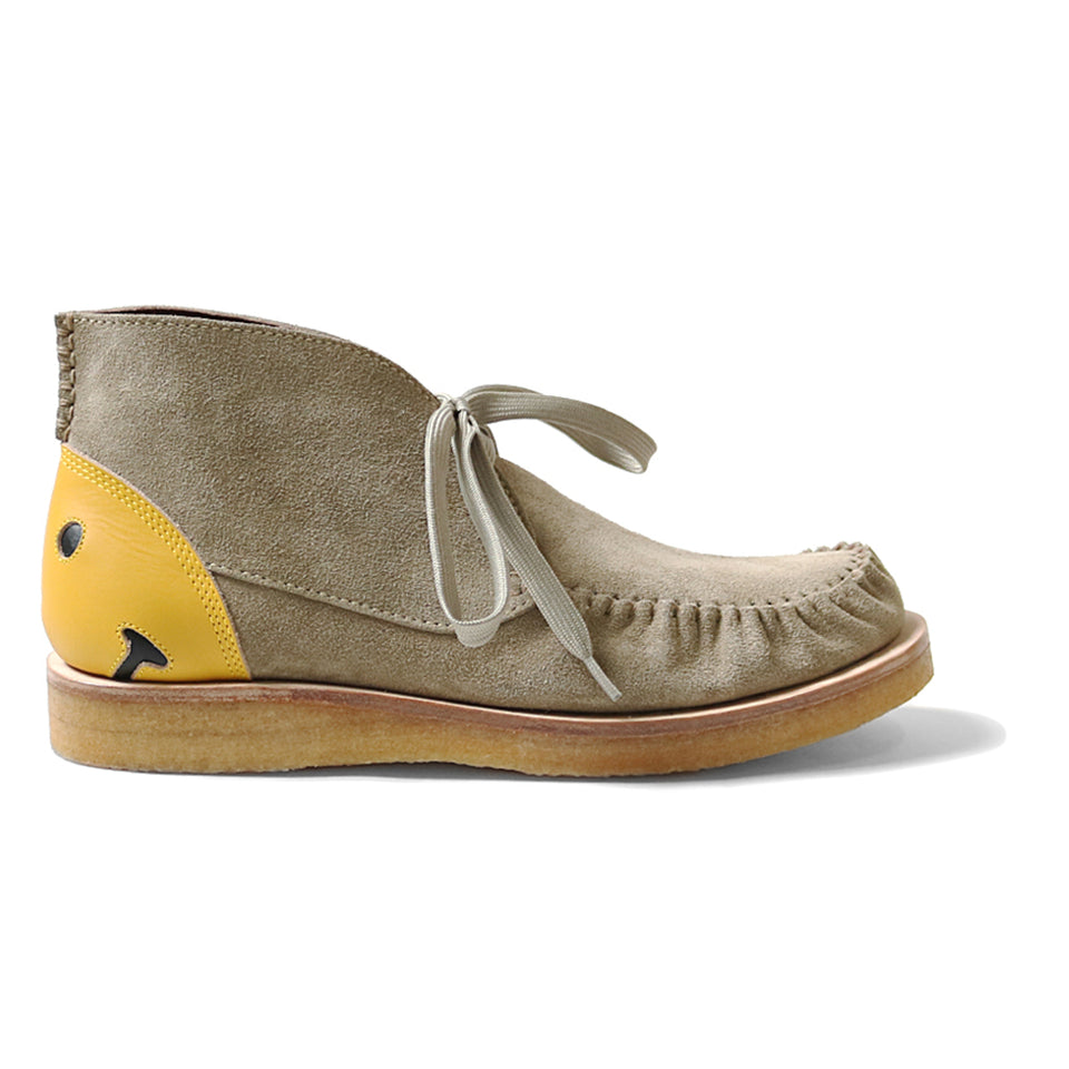 LEATHER HEEL SMILE WALLABEES - BEIGE