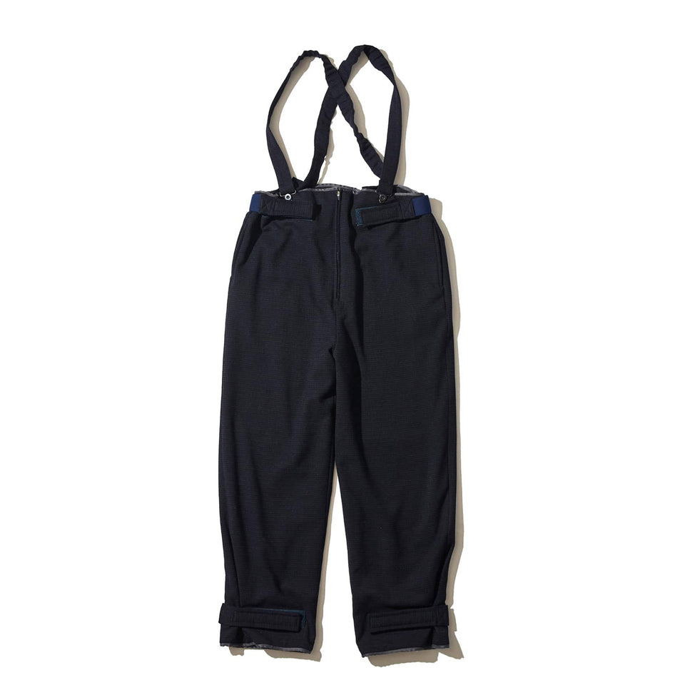 WOOL CHECK DECK PANTS - NAVY