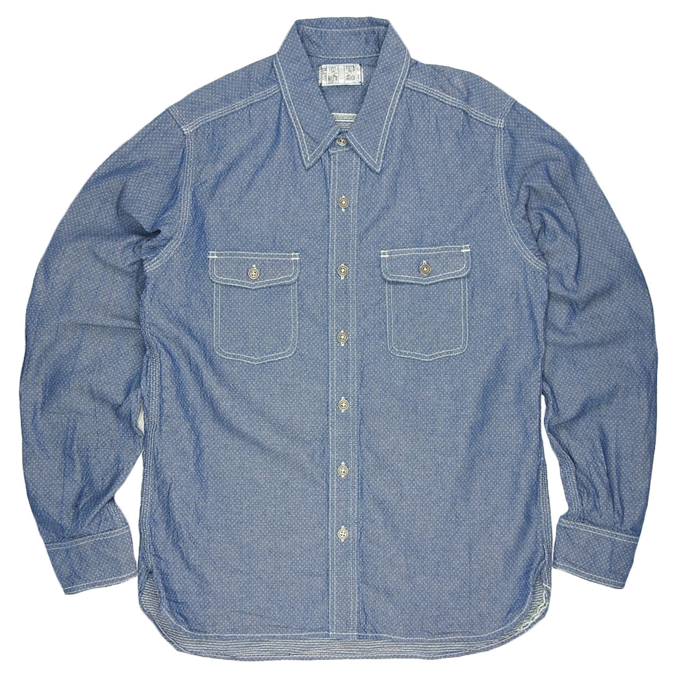 LEFT FIELD - 6oz QUILTED CHAMBRAY DUST BOWL WORK SHIRT - CHAMBRAY
