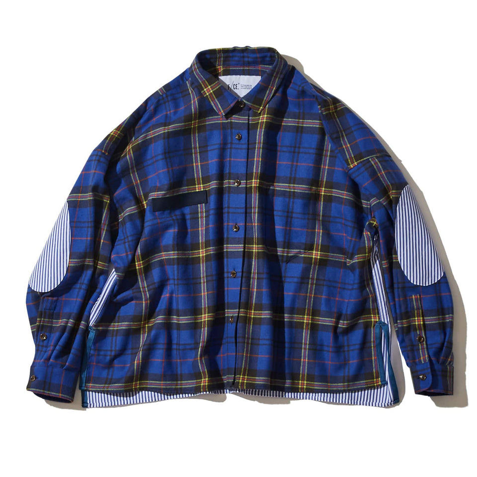 CROPPED CHECK SHIRT - BLUE