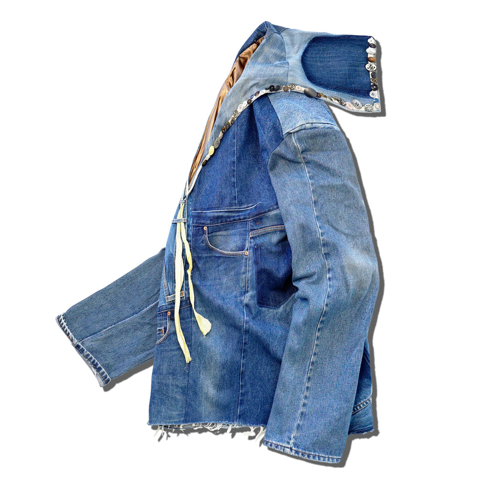 DENIM REMAKE PATCHWORK BIG SAILOR JACKET - INDIGO