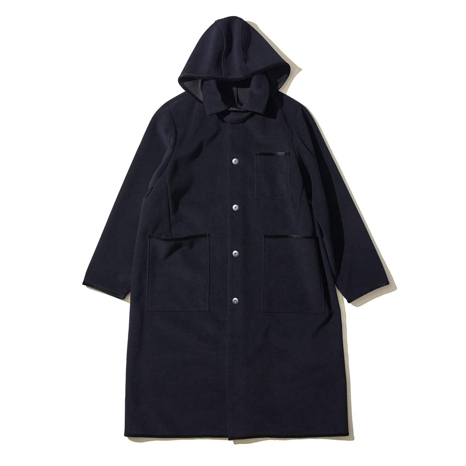 BONDING WOOL SLICK COAT - NAVY