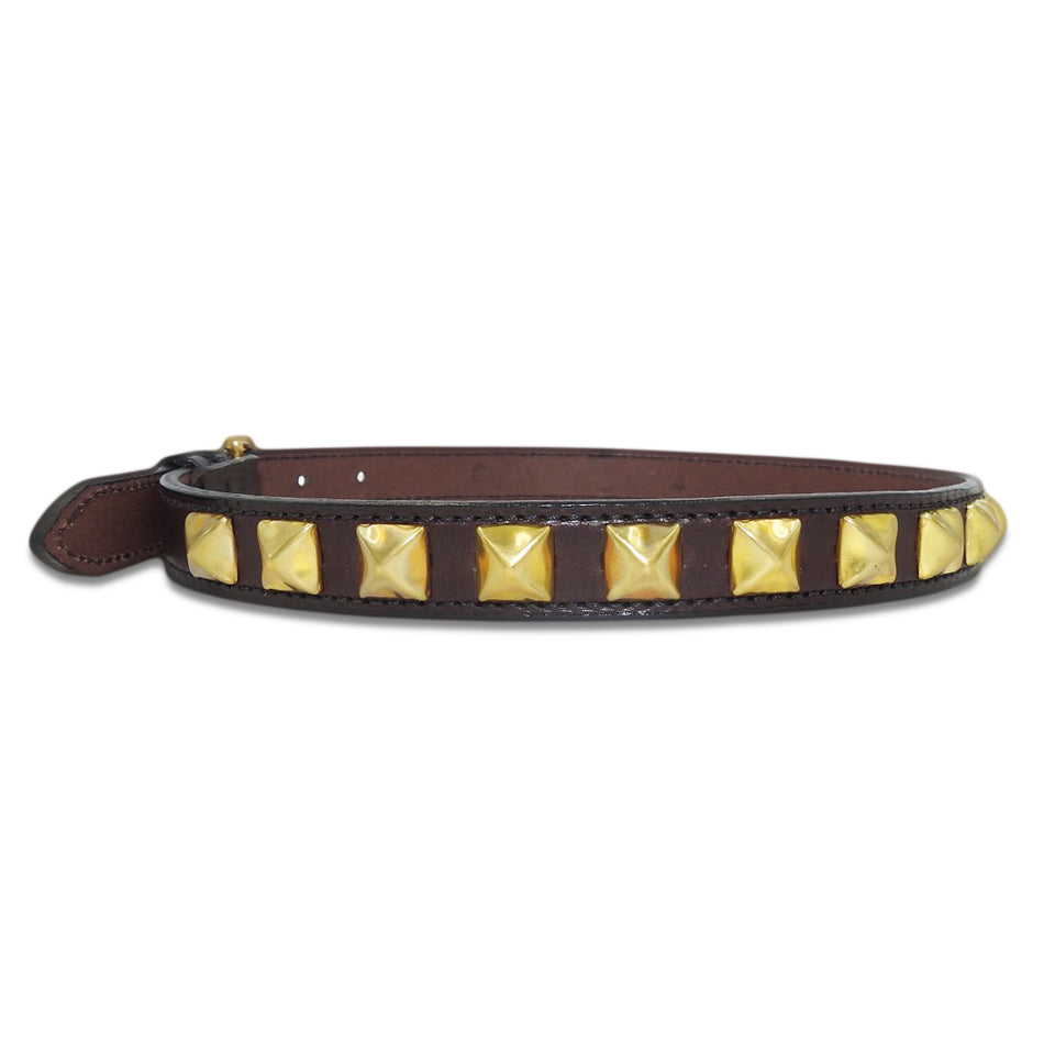 YUKETEN - ENGLISH BRIDLE STUDDED BELT - HAVANA/BRASS