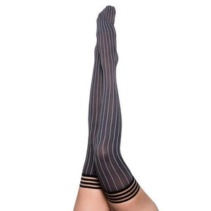 Annabelle: All Work, All Play Pinstripe Thigh Highs - Couples Playthings