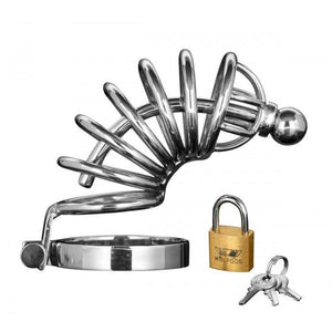 Asylum 6 Ring Locking Chastity Cage - Couples Playthings