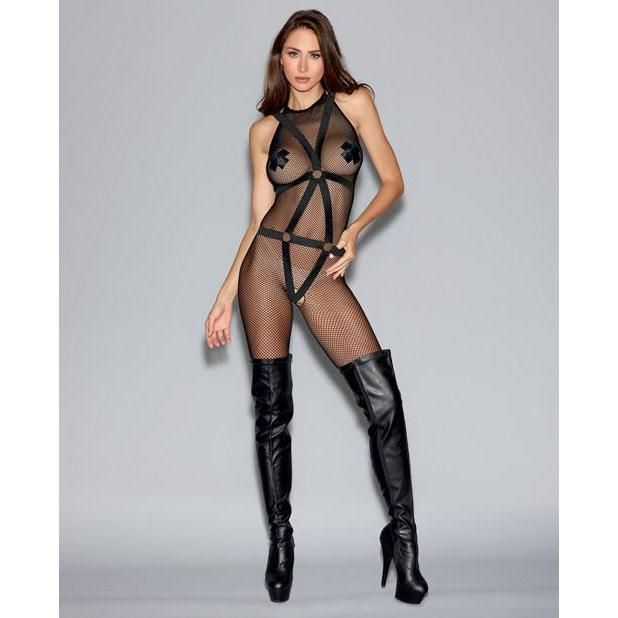 Fishnet Bodystocking with Open Crotch & Elastic Body Harness - Couples Playthings