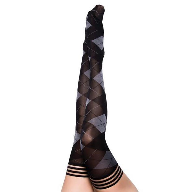 Kimmie: Not Your Grandma's Argyle Thigh Highs - Couples Playthings