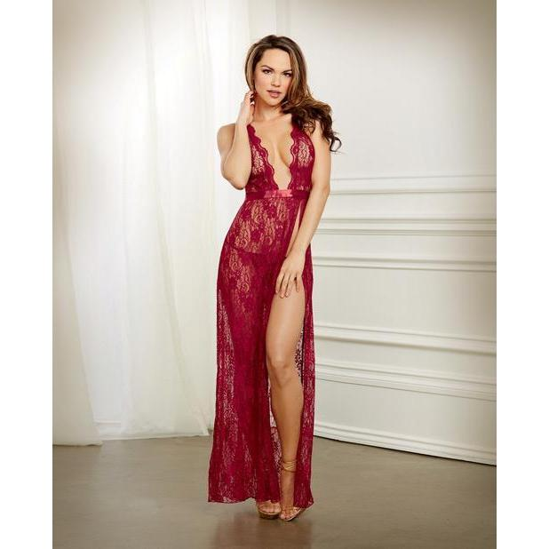 Lace Gown & G-String - Garnet - Couples Playthings