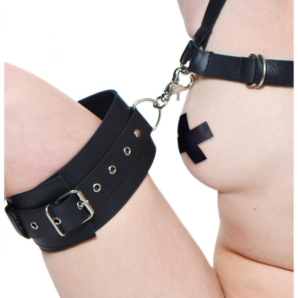 Premium Leather Easy Access Thigh Harness with Wrist Cuffs - Couples Playthings