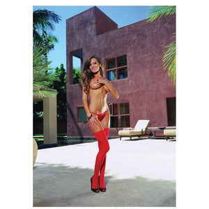 Sheer Thigh Highs with Seam - Red - Couples Playthings