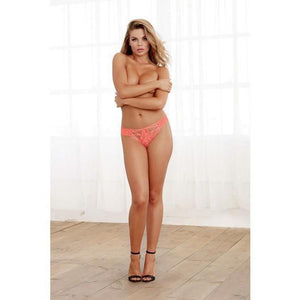 Stretch Lace Panty with Elastic Criss-Cross Detail - Coral - Couples Playthings