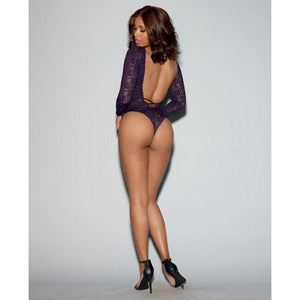 Stretch Lace Teddy with Elastic Strap, Thong Back & Snap Crotch - Eggplant - Couples Playthings