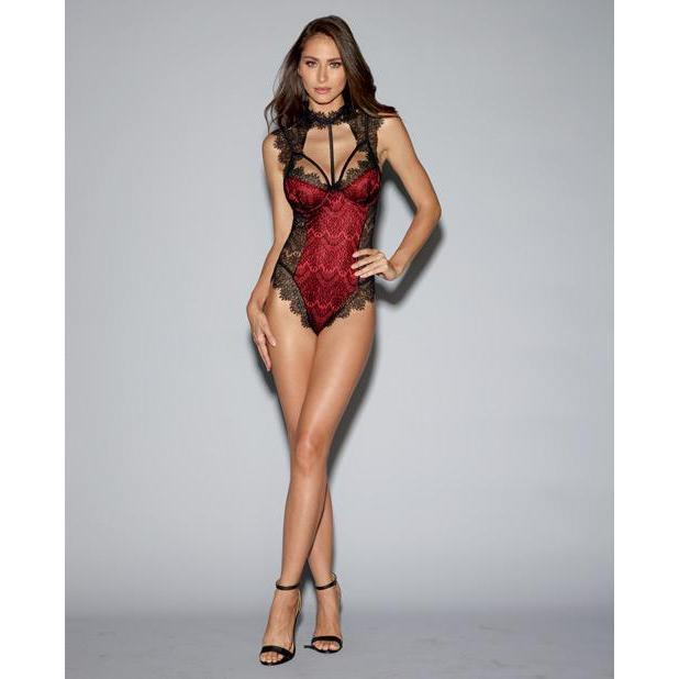 Stretch Satin Teddy with Lace Overlay, Tie Back Collar & Snap Crotch - Black/Red - Couples Playthings