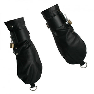 Strict Leather Bondage Mittens - Couples Playthings