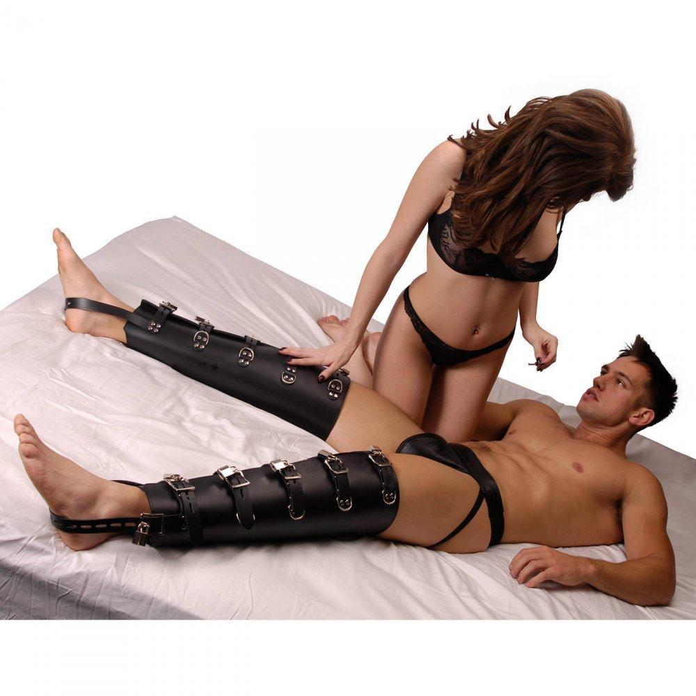 Strict Leather Leg Binders - Couples Playthings