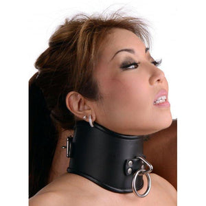 Strict Leather Locking Posture Collar - Small - Couples Playthings