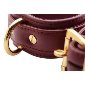 Strict Leather Luxury Burgundy Locking Ankle Cuffs - Couples Playthings