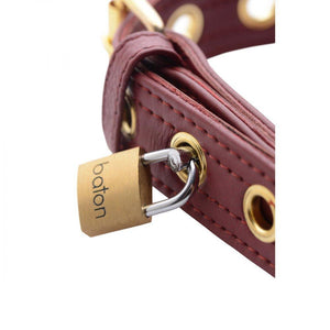 Strict Leather Luxury Burgundy Locking Collar - Couples Playthings