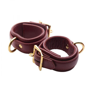 Strict Leather Luxury Burgundy Locking Wrist Cuffs - Couples Playthings