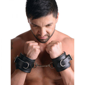 Strict Leather Padded Premium Locking Wrist Restraints - Couples Playthings