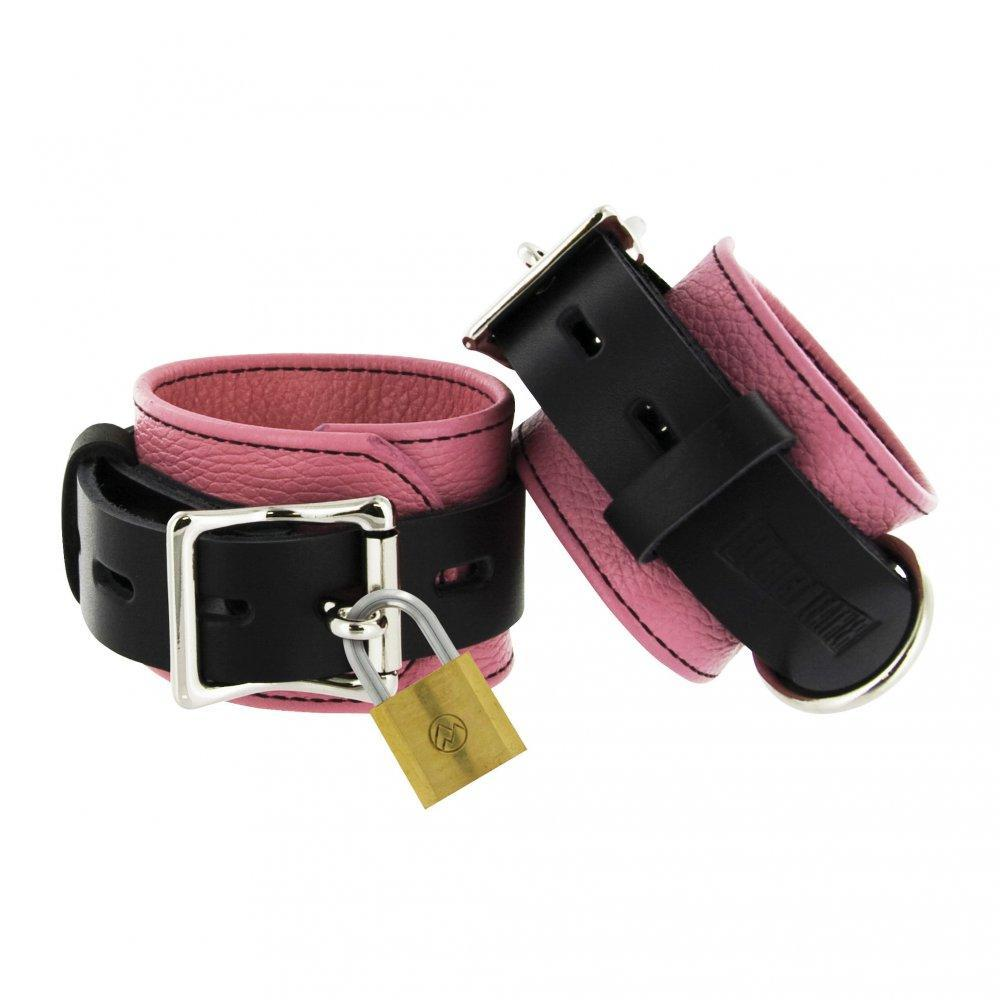 Strict Leather Pink and Black Deluxe Locking Wrist Cuffs - Couples Playthings