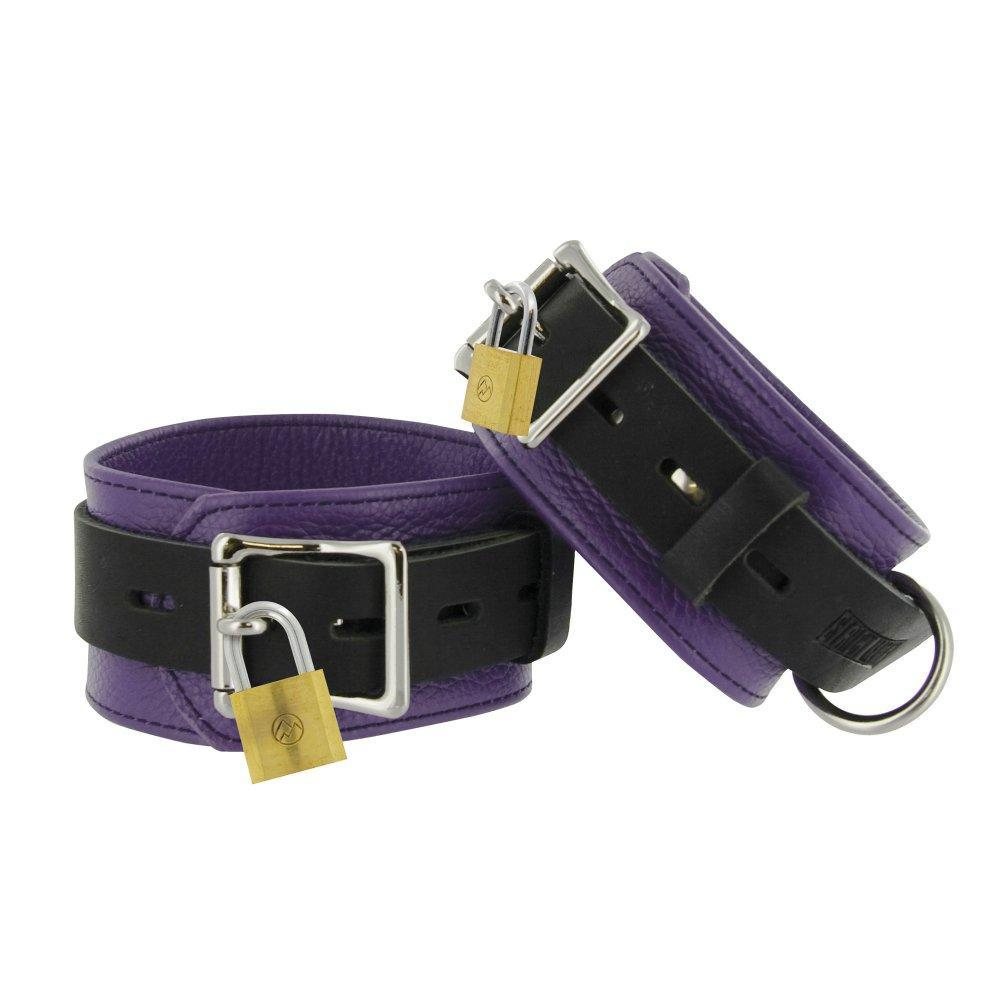 Strict Leather Purple and Black Deluxe Locking Ankle Cuffs - Couples Playthings