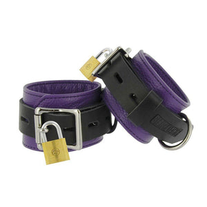 Strict Leather Purple and Black Deluxe Locking Wrist Cuffs - Couples Playthings