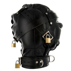 Strict Leather Sensory Deprivation Hood -Small/Medium - Couples Playthings