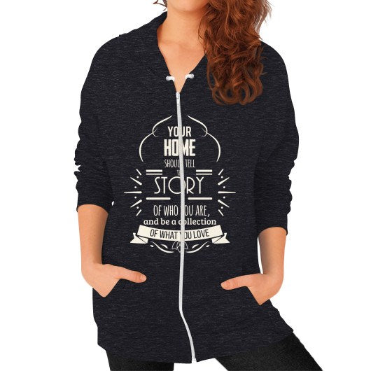 Zip Hoodie (on woman) Tri-Blend Black horseshopmart