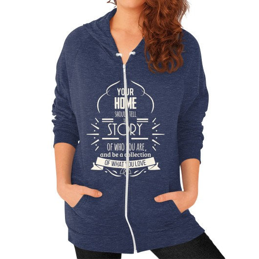 Zip Hoodie (on woman) Tri-Blend Navy horseshopmart