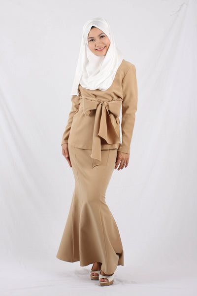 Elana Baju Kurung Set - Brown - Aly Ary