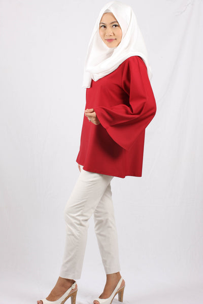 Shafiqah Comfy Flare Top - Rouge - Aly Ary