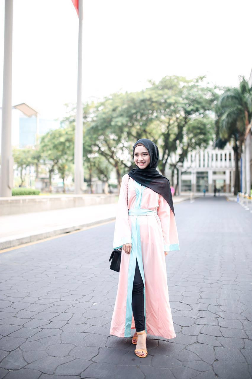 Long Cardigan Abaya - Aqua on Peach - Aly Ary - 3